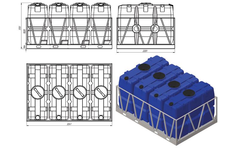 Чертеж на емкость sk 4000 литров в обрешетке 4 кассеты, эскиз