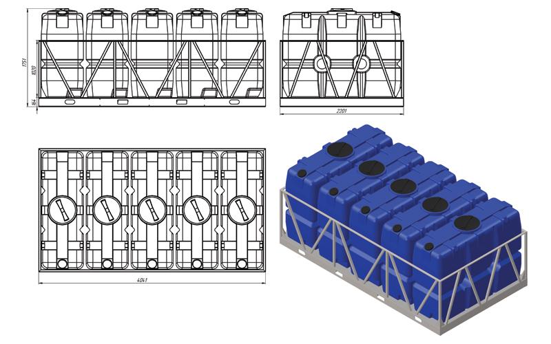 Чертеж на емкость sk 2000 литров в обрешетке 5 кассет, эскиз