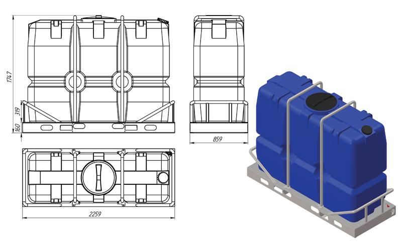 Чертеж на емкость sk 2000 литров в обрешетке, эскиз