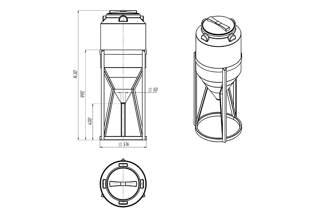Чертеж на емкость фм 120 литров в обрешетке, эскиз
