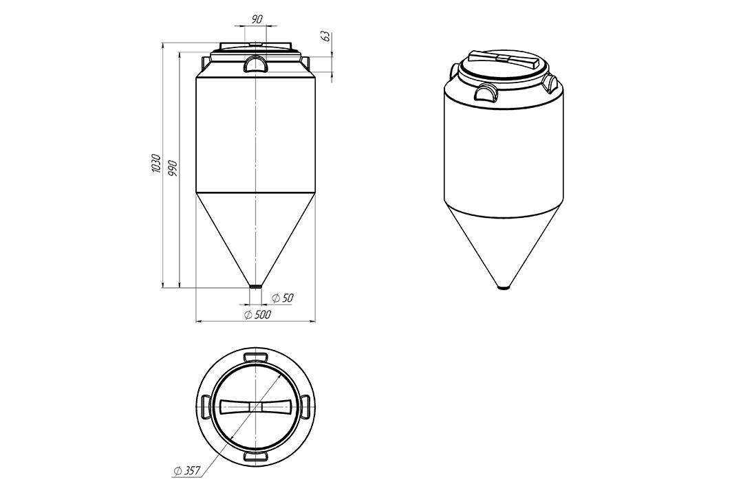 Чертеж на емкость фм 120 литров, эскиз