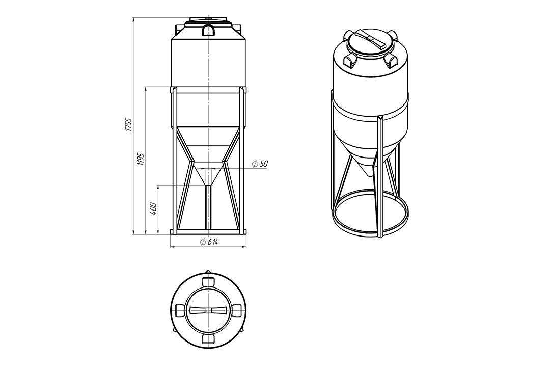 Чертеж на емкость фм 240 литров в обрешетке, эскиз