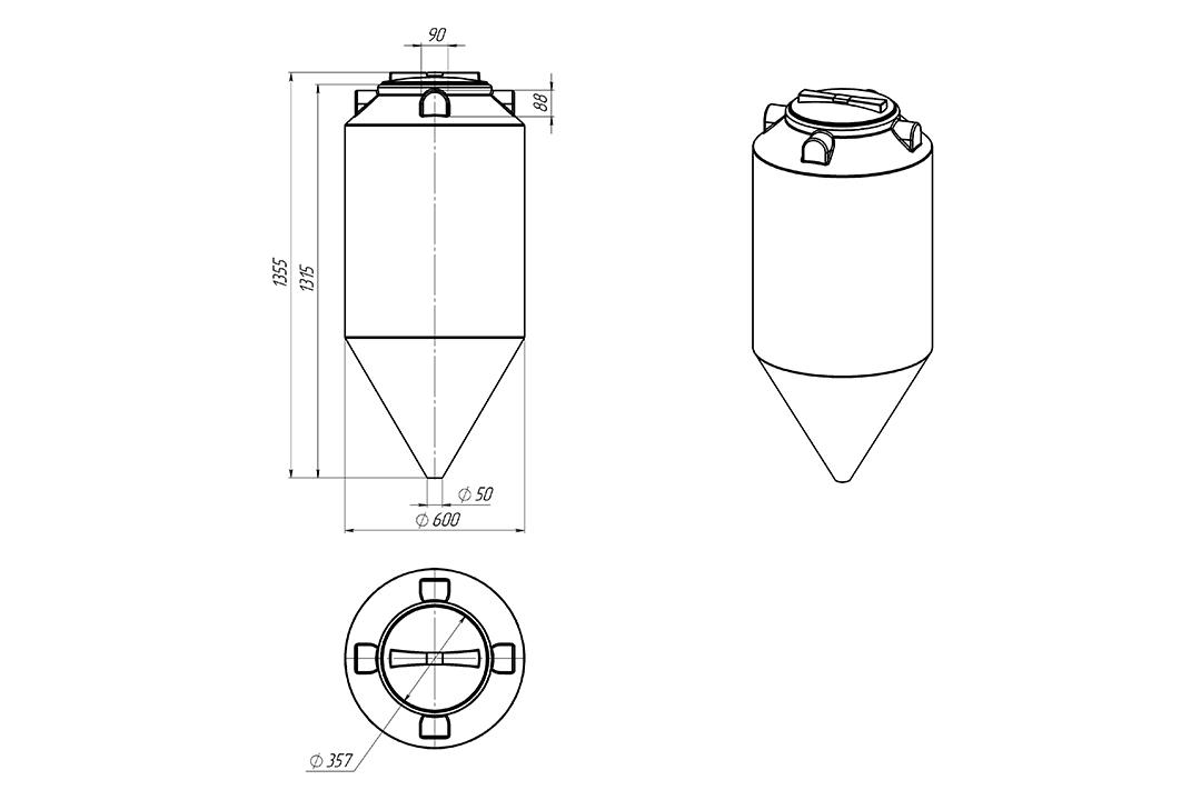 Чертеж на емкость фм 240 литров, эскиз