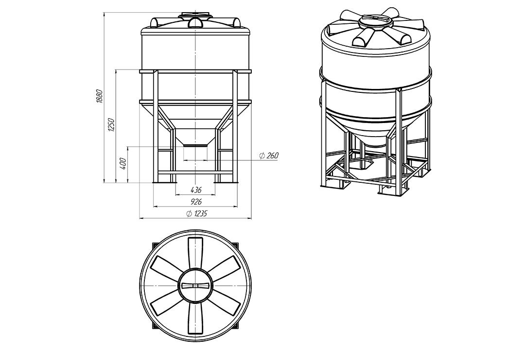 Чертеж на емкость фм 1000 литров в обрешетке, эскиз