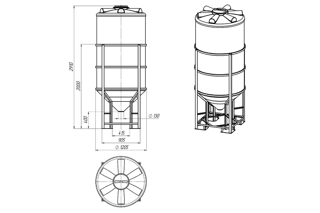 Чертеж на емкость фм 2000 литров в обрешетке, эскиз