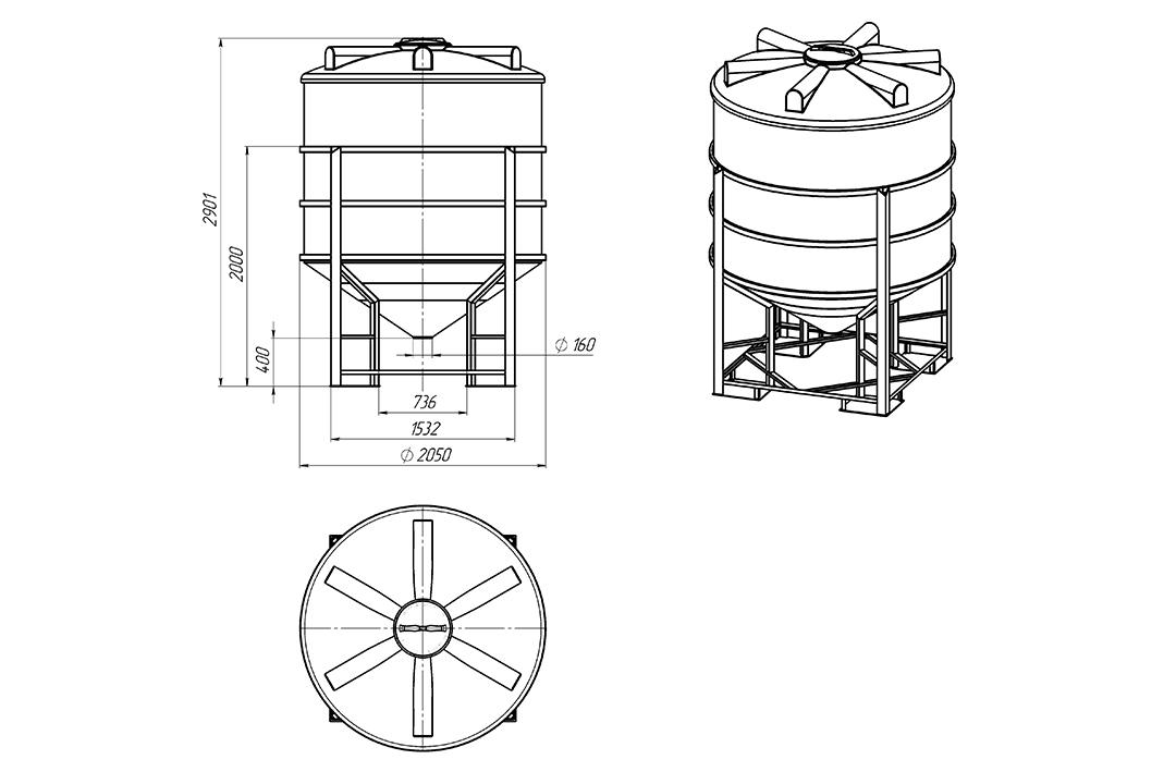 Чертеж на емкость фм 5000 литров в обрешетке, эскиз