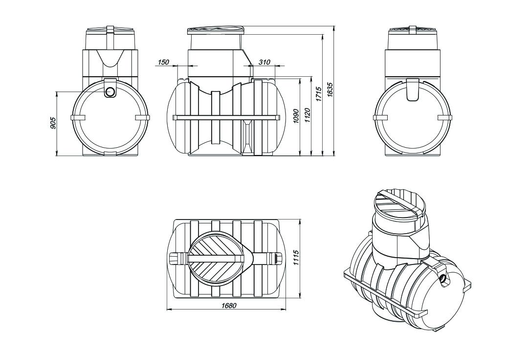 Чертеж на емкость U 1250 литров, эскиз