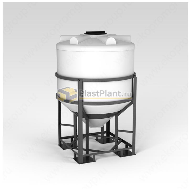Пластиковая коническая емкость 1000 литров в обрешетке серии ФМ - купить в компании ПластПлэнт