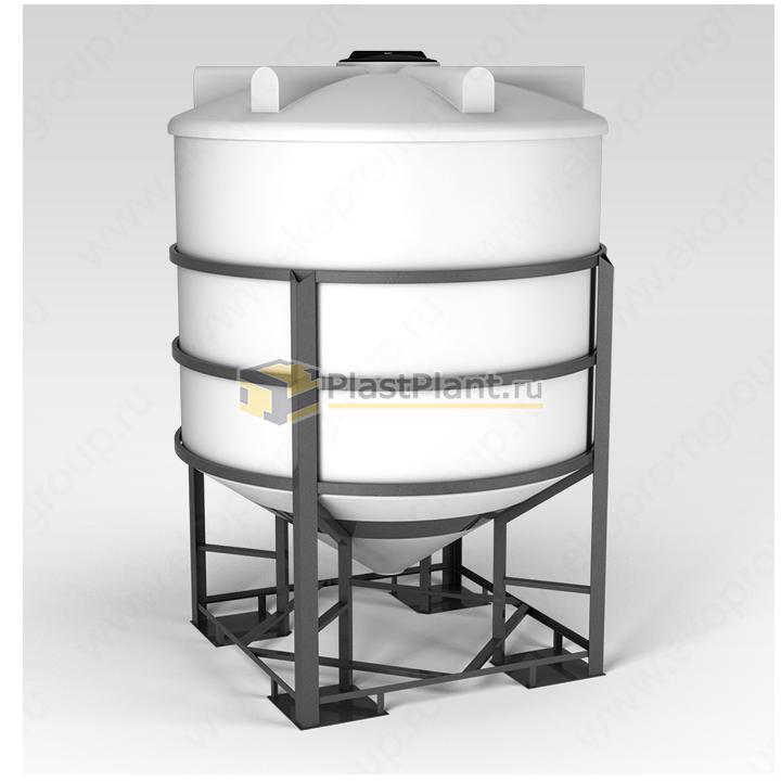 Пластиковая коническая емкость 5000 литров в обрешетке серии ФМ - купить в компании ПластПлэнт