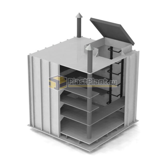 Пластиковый прямоугольный погреб PLASTPLANT-OS 1,2 x 1,2 x 1,5 заказать в ПластПлэнт